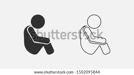 sitting, child, sad icon. Element of child icon for mobile concept and web apps.  sitting, child, sad icon can be used for web and mobile. Filled and outline icons set
