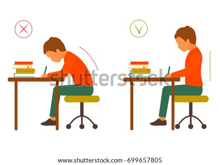 sitting correct and incorrect  body posture, healthy back