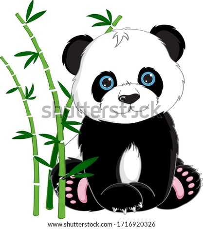 Sitting cute little panda with bamboo isolated on white background, vector illustration Stock photo ©