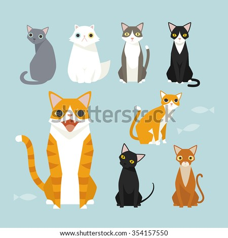 Sitting cute vector cats. White cat, Black cat, Orange cat. Brown cat.