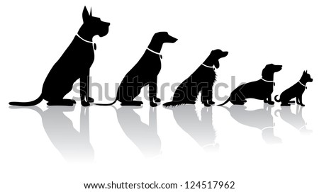 Sitting Dog Silhouettes - stock vector