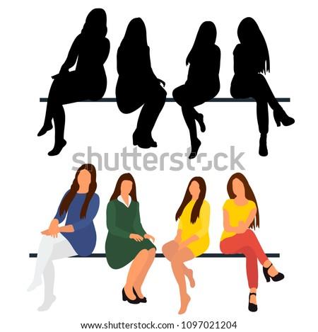 sitting girls  flat style  no
