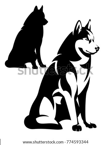 sitting husky dog simple black