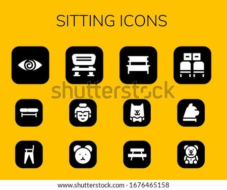 sitting icon set 12 filled