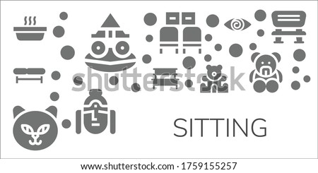 sitting icon set 11 filled