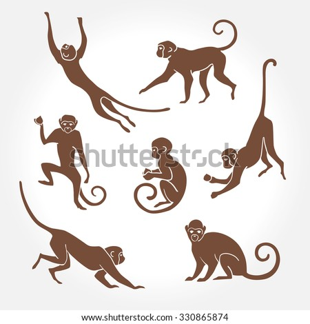 Sitting, jumping, running, hanging, walking, standing fun monkey silhouette. Isolated vector illustration.