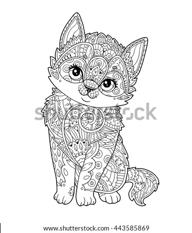 sitting kitten in zentangle