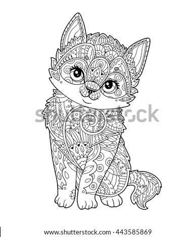 sitting kitten in zentangle
