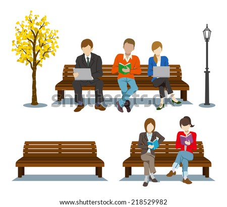 Sitting On The Bench,Various People Stock Vector 218529982 ...