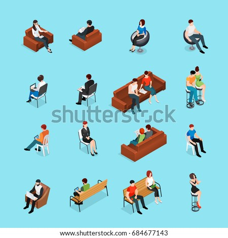 Sitting people isometric set of human characters and seat furniture isolated images with lounge chairs and benches vector illustration