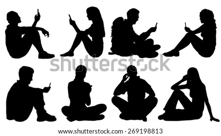 sitting poeple use smartphone