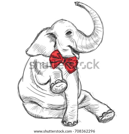 Sitting smiling elephant in a smart red bow.