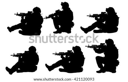 sitting soldiers silhouettes