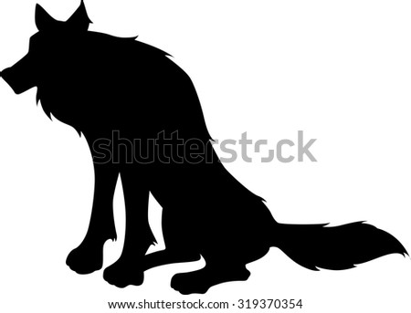 vector sitting wolf silhouette