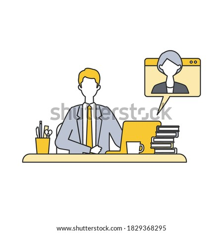 Situation of telecommuting work in the new normal lifestyles. Flat design vector illustration of teleworking people. Concept for teleworking. ストックフォト ©