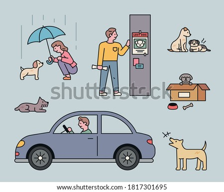 Situations of abandoned dogs. Throwing it in a box, running away in a car, getting sick, and putting a missing poster on the pole. flat design style minimal vector illustration.