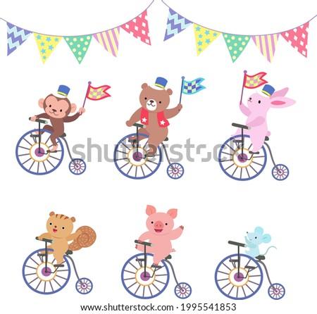 six animals on bicycles