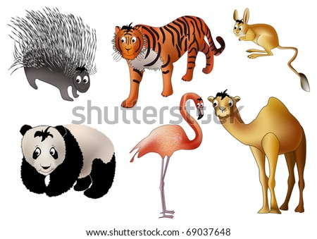 Six asian animals - porcupine, tiger, jerboa, panda, flamingo and camel - drawn in kind child style