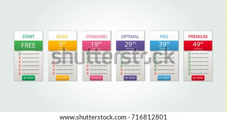 web design pricing table template download free vector art stock