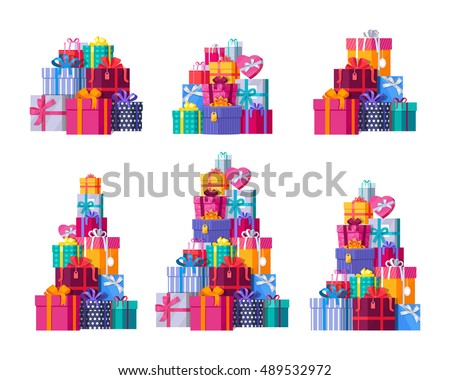 Six big pile of colorful wrapped gift box. Mountain gifts set. Beautiful present box with overwhelming bow. Gift box icon set. Gift symbol. Christmas gift box. Isolated vector illustration