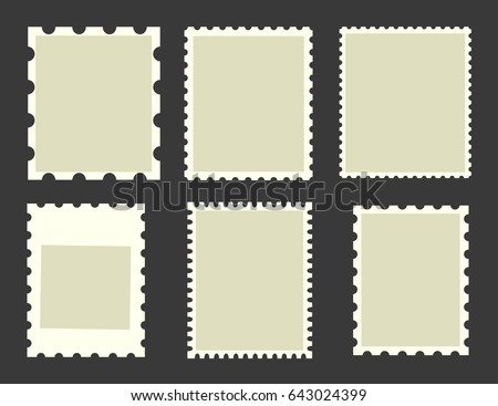 Six blank postage stamps, vector templates with space for your images and text