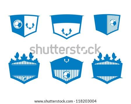 Six Blue Soccer Blank Badges.