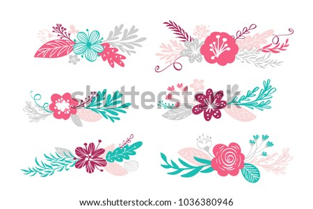 six bouquet flowers and floral
