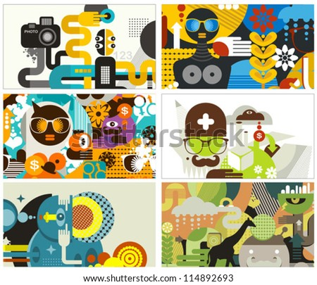Six business card covers. Vector illustration.