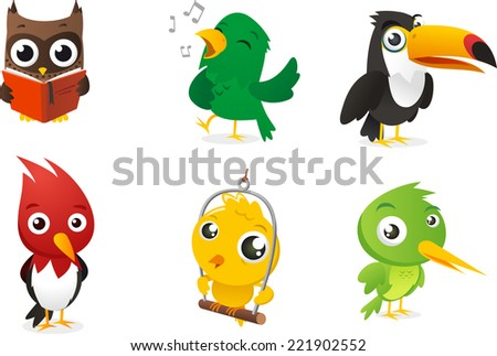 six cartoon full color birds