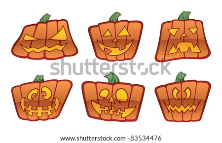 Six Cartoon Jack O'Lantern Icons.