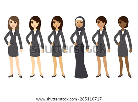 six cartoon young businesswomen