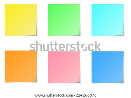 Six color of sticky notes A vector illustration