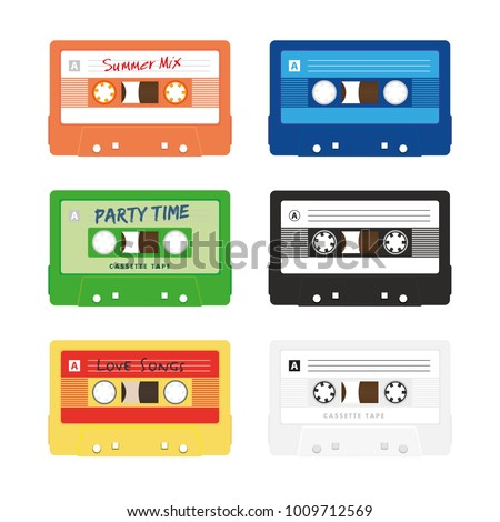 Six colorful audio music cassette tape vector isolated on white background