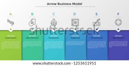 Six colorful rectangular elements, thin line pictograms, pointers and text boxes. Concept of arrow business model with 6 successive steps. Modern infographic design template. Vector illustration.