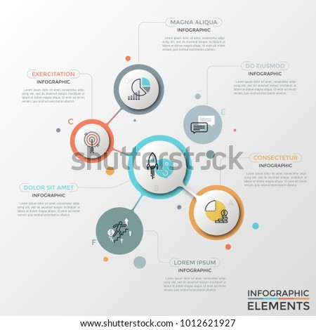 Six colorful round elements of various size with thin line icons, letters inside and text boxes. Unusual infographic design template. Creative vector illustration for presentation, brochure, report.