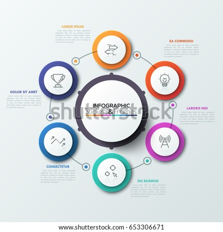 Six colorful round elements with thin line symbols inside placed around central circle. Cyclical diagram with 6 features concept. Realistic infographic design layout. Vector illustration for report.