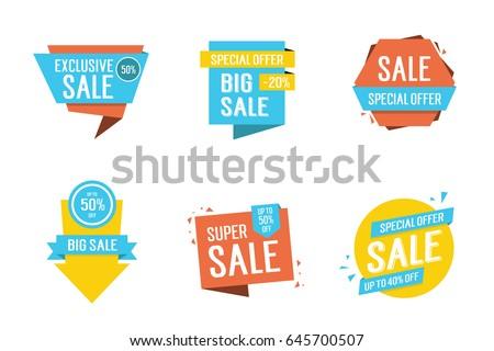 Six Colorful Sale Letterings Set