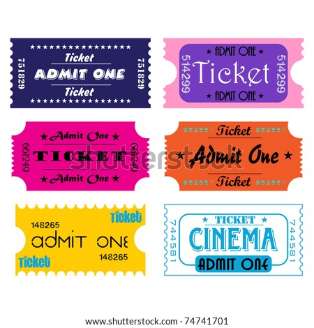 Six colorful tickets for cinema or other kind of entertainment shows