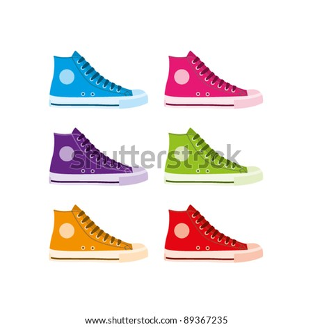 Six colourful vector hi-top sneakers on a white background