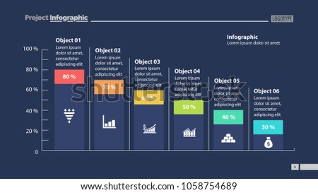 Six columns bar chart slide template. Business data. Percentage, declining, design. Creative concept for infographic, presentation, report. Can be used for topics like management, finance, statistics.