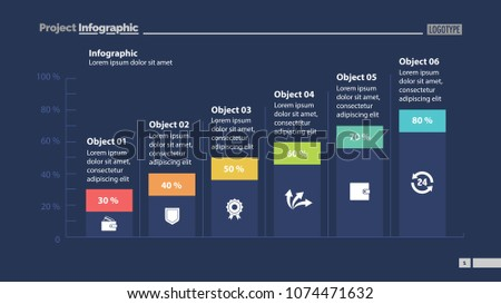 Six columns bar chart slide template. Business data. Percentage, diagram, design. Creative concept for infographic, presentation, report. Can be used for topics like management, finance, research.