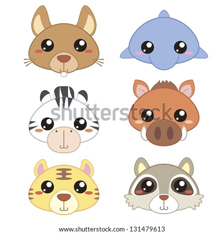 six cute cartoon animal head icons