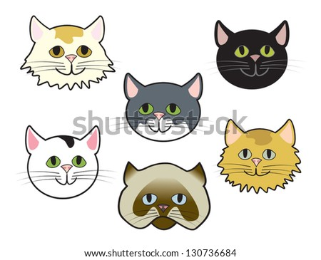 Six Cute Cartoon Cat Faces Of Various Breeds Ez Canvas