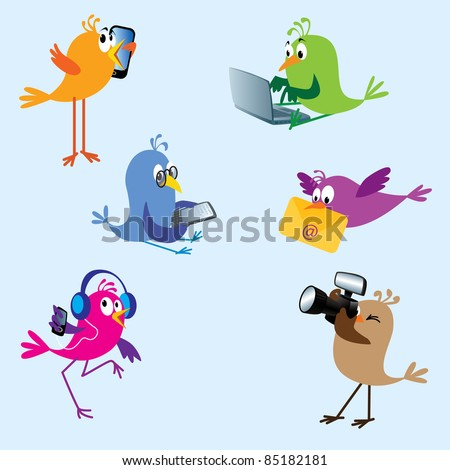 Six cute colorful birds using electronic devices: talking on mobile, typing on laptop, reading on ebook reader, bringing e-mail, dancing to MP3 player, taking pictures