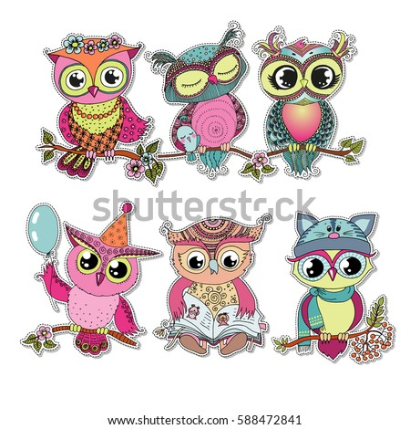 six cute colorful cartoon owls