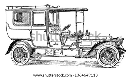 Six Cylinder Rolls Royce Pullman Limousine operated at 40 to 50 horsepower with an open driver compartment, vintage line drawing or engraving illustration.