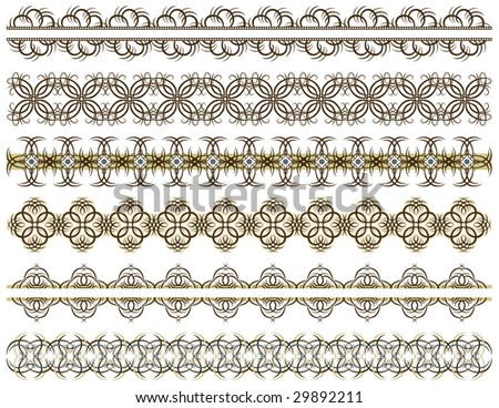 six decorative lines, vector #29892211