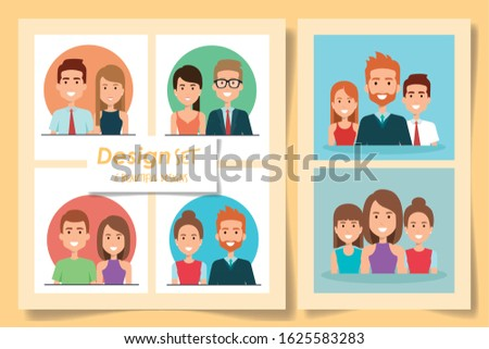 six designs of young people vector illustration design Foto stock ©