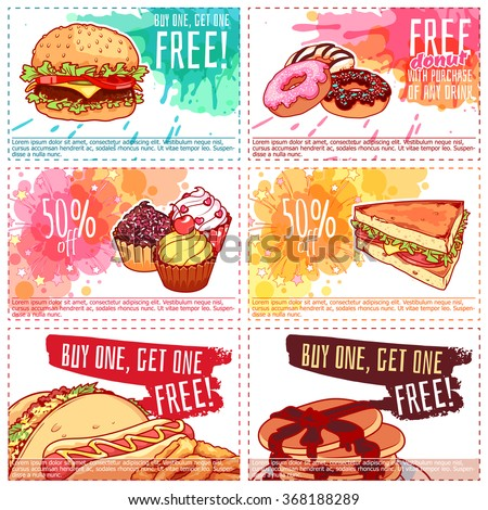 Six different dogs free vectors free vector 4vector for Free meal coupon template
