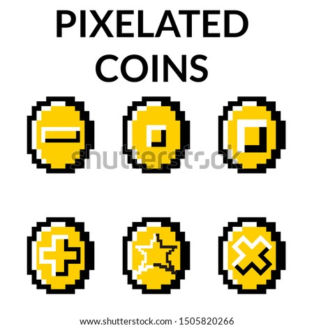 six different kind of pixelated